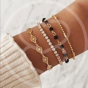 CYNTHIA Rhinestone & Bead Bracelet Set  - SET OF 4